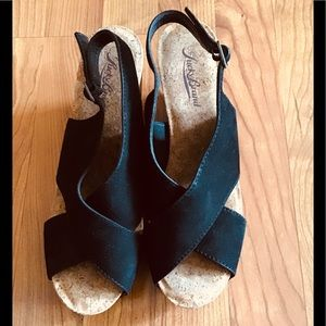 Lucky Brand Black Suede Wedge Sandals